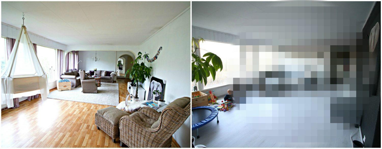 Før og etter bilder av stuen!